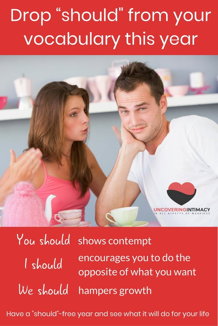"Drop ""should"" from your vocabulary to help your marriage and your life"