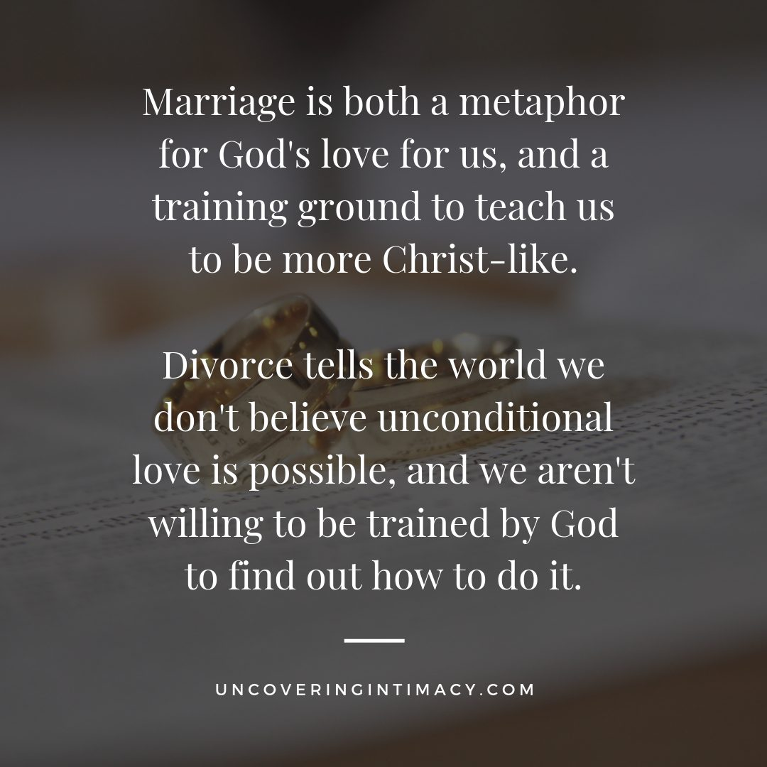 Marriage is both a metaphor for God's love for us, and a training ground to teach us to be more Christ-like. Divorce tells the world we don't believe unconditional love is possible, and we aren't willing to be trained by God to find out how to do it.