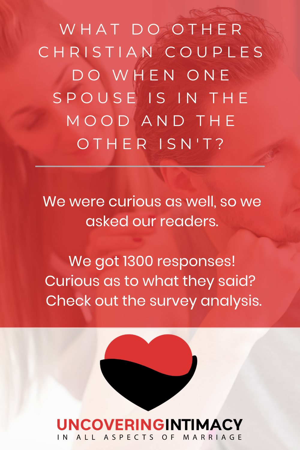 What do other Christian couples do when on espouse is in the mood and the other isn't?  We were curious as well, so we asked our readers.  We got 1300 responses!  Curious as to what they said?  Check out the survey analysis.
