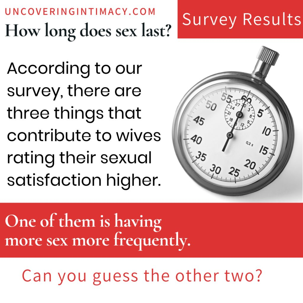 According to our survey, there are three things that contribute to wives rating their sexual satisfaction higher.  One of them is having more sex more frequently.  Can you guess the other two?